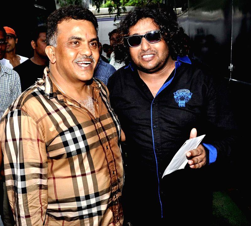 Sanjay Nirupam & Shabab Sabri during Dahi Handi festival at Politician Sanjay Nirupam`s Dahi Handi in Mumbai on August 29, 2013.