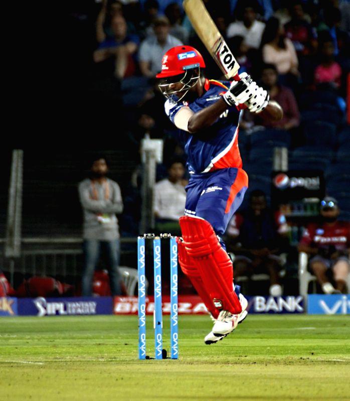 Sanju Samson of Delhi Daredevils in action during an IPL 2017 match between Rising Pune Supergiant and Delhi Daredevils at Maharashtra Cricket Association Stadium in Pune on April 11, 2017.