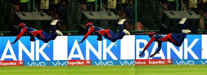 Sanju Samson of Delhi Daredevils tries to save runs during an IPL 2017 match between Delhi Daredevils and Kolkata Knight Riders at Feroz Shah Kotla in New Delhi on April 17. 2017. - Feroz Shah Kotla