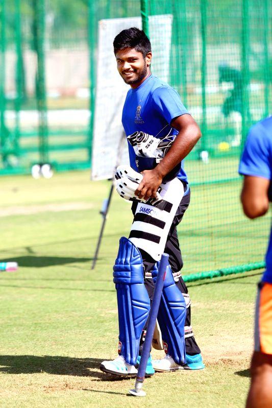 Sanju Samson of Rajasthan Royals during a practice session in Jaipur, on March 13, 2018.