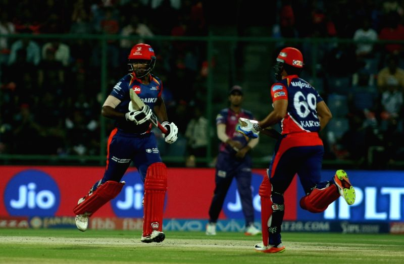 Sanju Samson of the Delhi Daredevils in action during an IPL 2017 match between Delhi Daredevils and Rising Pune Supergiants at Feroz Shah Kotla Ground in New Delhi, on May 12, 2017.