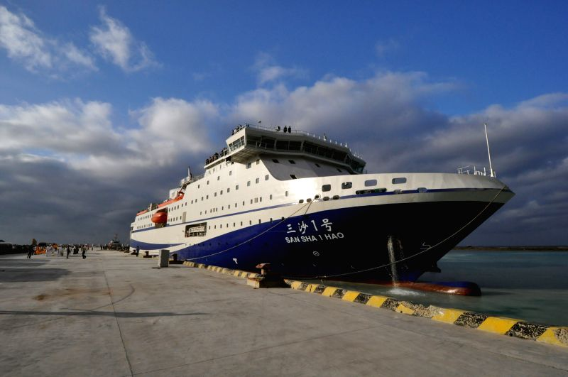 The civil ship Sansha I stops at the Xinyu Harbour of Yongxing Island in Sansha City, south China's Hainan Province, Jan. 6, 2015. The ship arrived in Yongxing ...