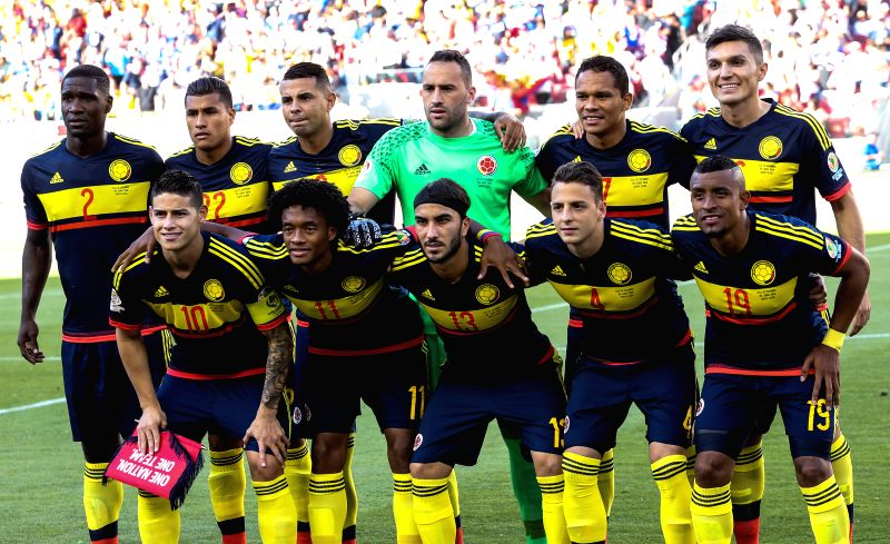 SANTA CLARA, June 4, 2016 - Colombian players pose for a photo prior to the opening match of Copa America Centenario between Colombia and the United States at the Levi's Stadium in Santa Clara, ...