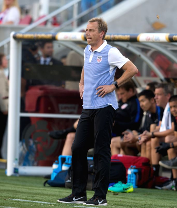 SANTA CLARA, June 4, 2016 - U.S. head coach Jurgen Klinsmann looks on during the opening match of Copa America Centenario between Colombia and the United States at the Levi's Stadium in Santa Clara, ...