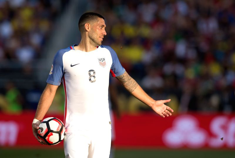 SANTA CLARA, June 4, 2016 - U.S. player Clint Dempsey reacts during the opening match of Copa America Centenario between Colombia and the United States at the Levi's Stadium in Santa Clara, ...