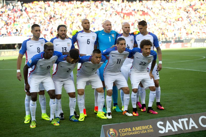 SANTA CLARA, June 4, 2016 - U.S. players pose for a photo prior to the opening match of Copa America Centenario between Colombia and the United States at the Levi's Stadium in Santa Clara, ...