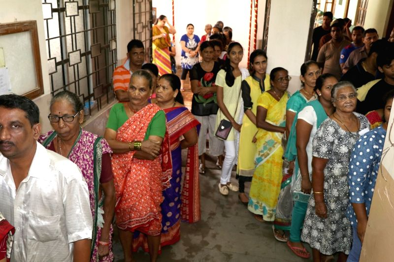 Santa Cruz: People queue up to cast their votes during Goa Panchayat polls at Santa Cruz village on June 11, 2017.