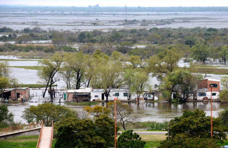 The picture taken on July 15, 2014 shows the flooded area in Santa Fe, Argentina