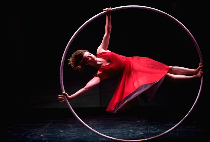"""A Canadian Cirque Eloize troupe artist performs new show """"Cirkopolis"""" during a rehearsal for the media on the stage of Municipal Theater of Las Condes, .."""