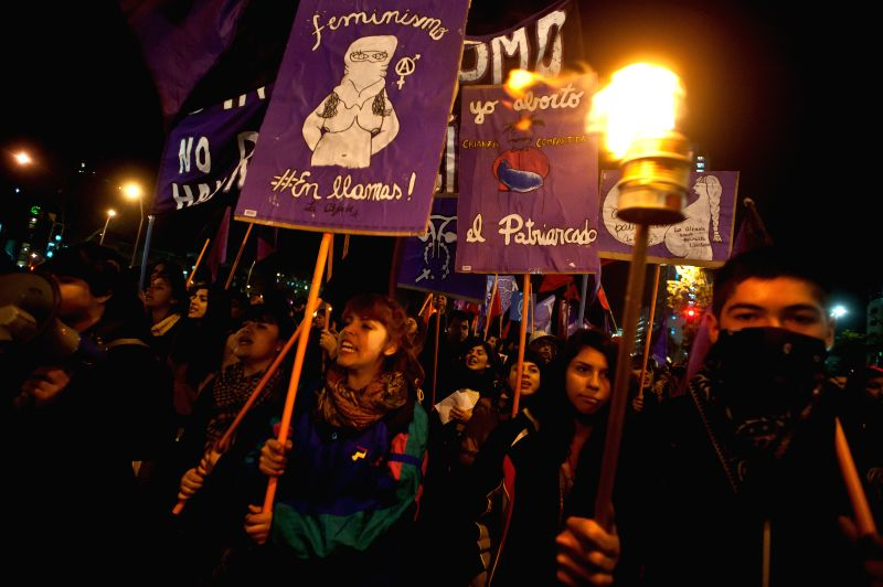 """Demonstrators participate in a march called """"For a Free, Safe and Gratuitous Abortion"""", held by Feminists in Struggle Coordinator, in Santiago, capital .."""