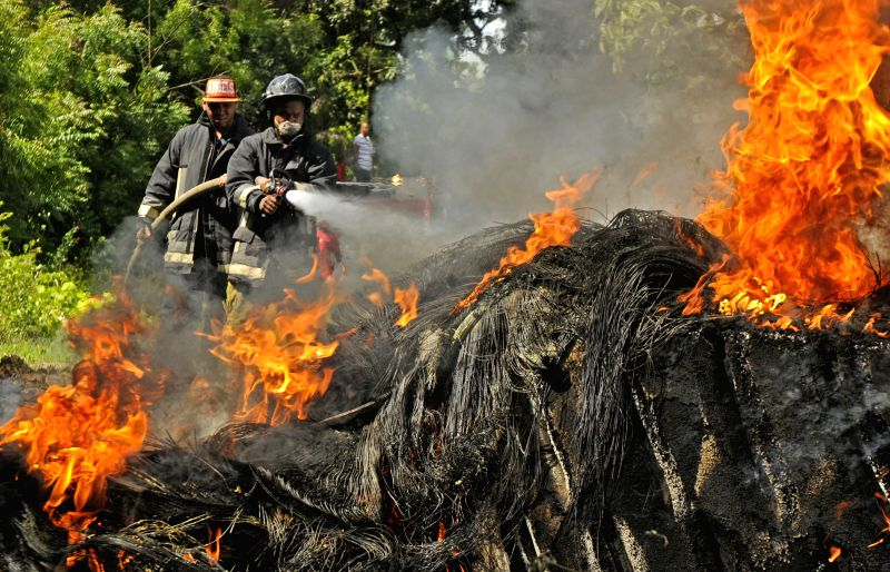 Fire fighters try to put off a fire at a tire pile, located in La Herradura sector of Santiago city, north of Dominican Republic, on July 2, 2014. Tens of families .