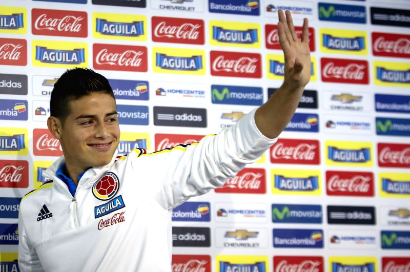 James Rodriguez of Colombia's national soccer team gestures after a press conference in Santiago, Chile, on June 15, 2015. (Xinhua/Mauricio Alvarado/COLPRENSA) ...