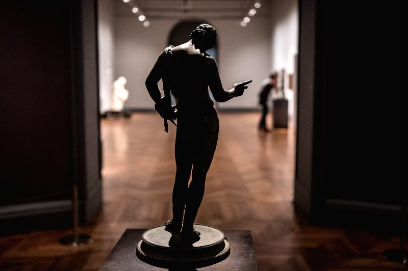 SANTIAGO, May 19, 2016 - A visitor strolls at an exhibition on the International Museum Day, at the Museum of Fine Arts in Santiago, capital of Chile, on may 18, 2016.