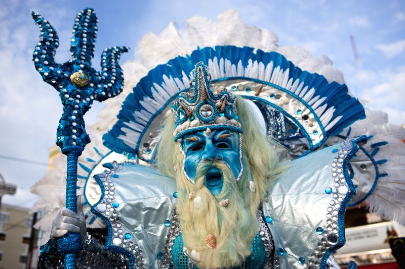 A youngster takes part in the Carnival parade in Santo Domingo, Dominican Republic, on Feb. 8, 2015.