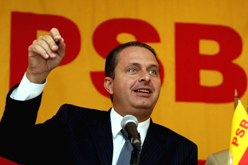 File photo taken on May, 21, 2010 shows Eduardo Campos attends a meeting of the Brazilian Socialist Party (PSB), in Brasilia city, Brazil. Eduardo Campos, candidate .