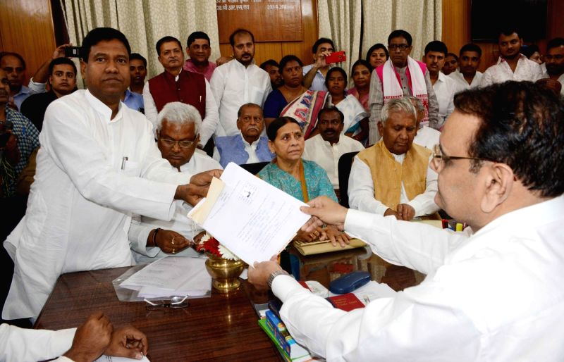 Santosh Manjhi, son of Hindustani Awam Morcha chief Jitan Ram Manjhi files nomination papers for the April 26 Bihar council polls at Bihar Legislative Assembly in Patna, on April 13, 2018.