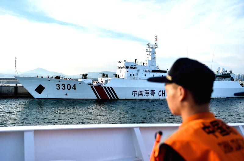 SANYA, April 17, 2017 - Police vessels leave Sanya, south China's Hainan Province, April 17, 2017. Two Chinese maritime police vessels on Monday left Sanya for a China-Vietnam joint fishery ...