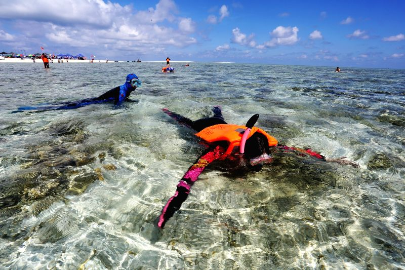 A tourist enjoys snorkelling at the Yinyu Island of Xisha Islands, south China's Hainan Province, Sept. 3, 2014. A cruise route, linking the city of Sanya in the ...