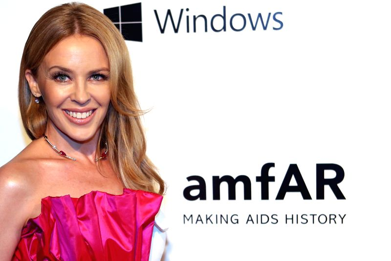 Australian singer Kylie Minogue poses in the red carpet of the event of The Foundation for AIDS Research (amfAR), in Sao Paulo, Brazil, April 10, 2015. ...