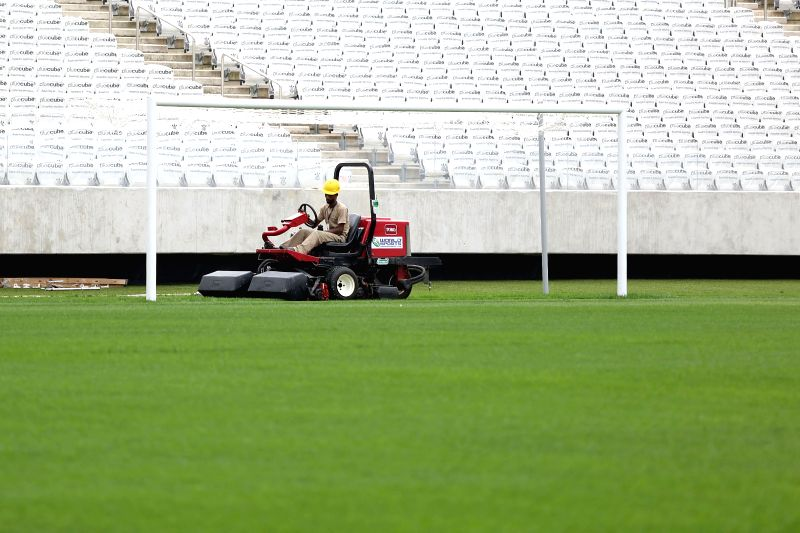 An employee works at the Corinthians Arena in Sao Paulo, Brazil, on April 22, 2014. The Corinthians Arena will host the opening match of the World Cup 2014 ...