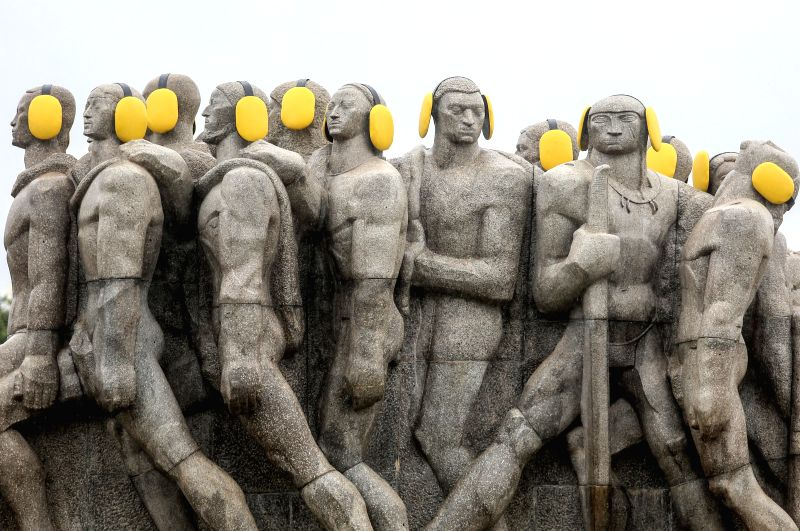 SAO PAULO, April 27, 2017 - Photo taken on April 26, 2017 shows the statues adorned with auditive protectors marking the International Noise Awareness Day, in Sao Paulo, Brazil, on April 26, 2017. ...