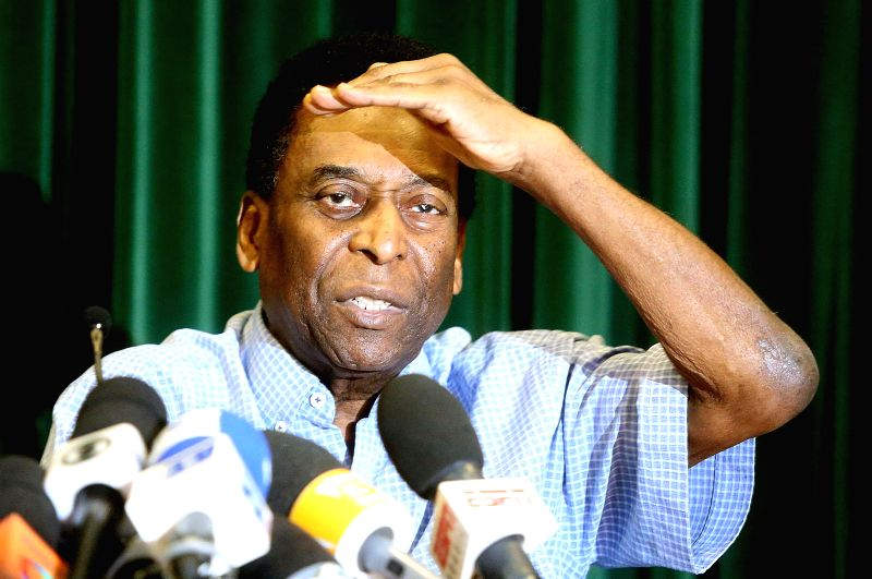 Sao Paulo (Brazil): Brazilian former soccer player Edson Arantes do Nascimento, better known as Pele, gestures during a press conference in Sao Paulo Dec. 9, 2014. Pele has recovered well from his ...