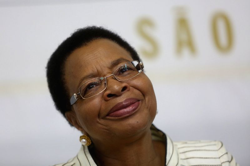 Sao Paulo (Brazil): Late former South African president Nelson Mandela's widow Graca Machel reacts during a press conference in the Zumbi dos Palmares University in Sao Paulo, Brazil, on Nov. 23, ...