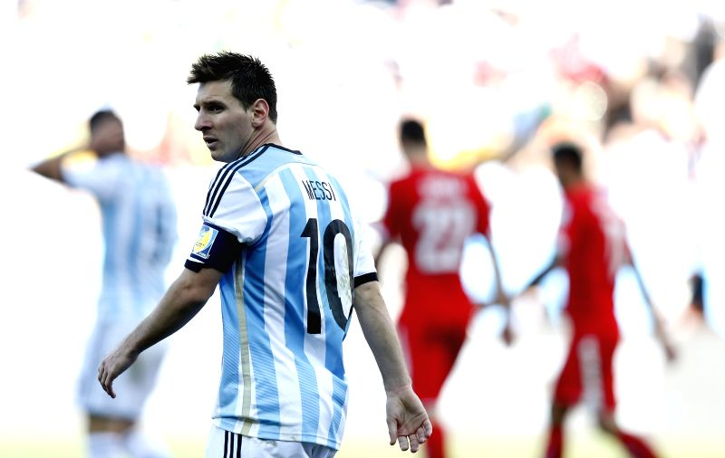 Argentina's Lionel Messi reacts during a Round of 16 match between Argentina and Switzerland of 2014 FIFA World Cup at the Arena de Sao Paulo Stadium in Sao Paulo,