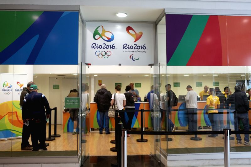 SAO PAULO, July 22, 2016 - People wait in line to buy tickets for the Rio 2016 Olympic Games at an official ticket office in Sao Paulo, Brazil, on July 21, 2016.