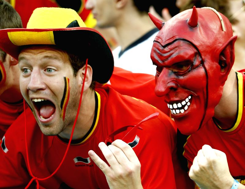 Belgium's fans cheer during a Group H match between South Korea and Belgium of 2014 FIFA World Cup at the Arena de Sao Paulo Stadium in Sao Paulo, Brazil, on June