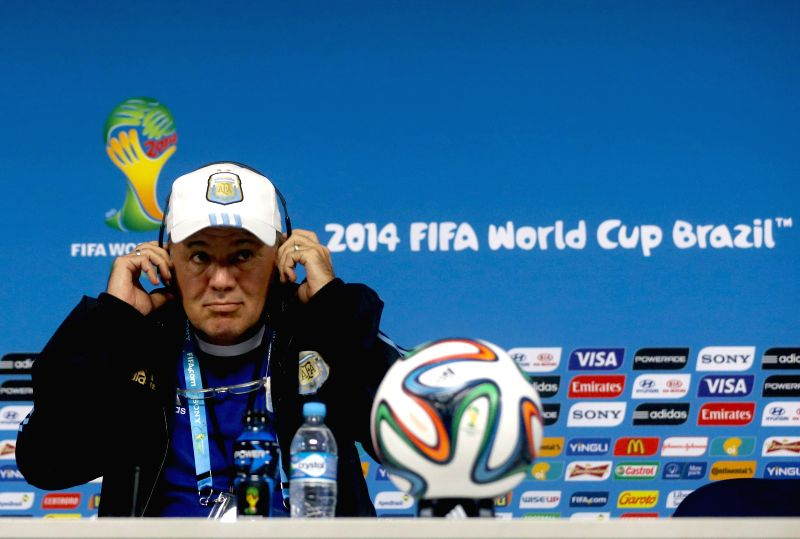 Argentina's coach Alejandro Sabella attends a press conference in Sao Paulo, Brazil, on June 30, 2014, ahead of a Round of 16 match between Argentina and ...