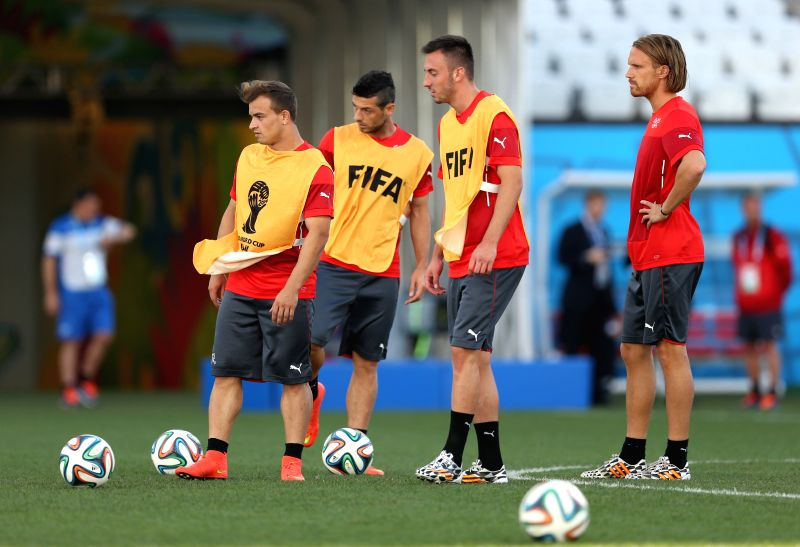 Switzerland's Players take part in a training session in Sao Paulo, Brazil, on June 30, 2014. Switzerland will face Argentina here in a Round of 16 match of 2014 .