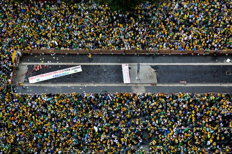 Demonstrators march during a protest against the government of the Brazilian President Dilma Rousseff, in Sao Paulo, Brazil, on March 15, 2015. Opposition groups ...