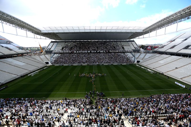 People attend a test event for the opening game of FIFA World Cup Brazil 2014, at Arena de Sao Paulo stadium, in Sao Paulo, Brazil, on May 10, 2014.