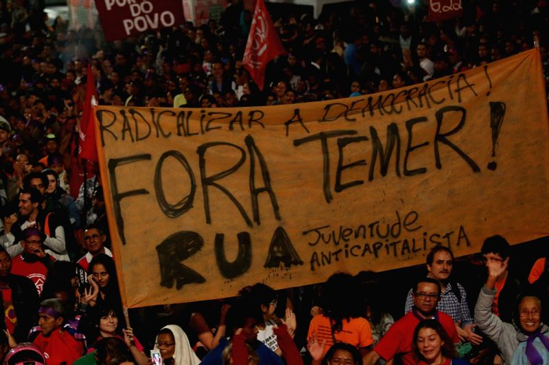 SAO PAULO, May 13, 2016 - People protest against the suspension of Dilma Rousseff as Brazil's president, in Sao Paulo, Brazil, May 12, 2016. Brazilian President Dilma Rousseff, who was suspended ...