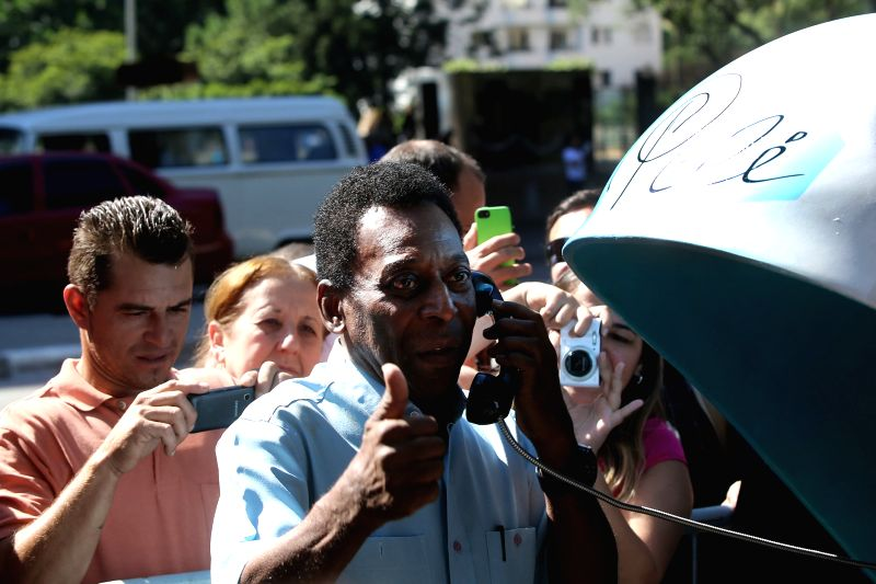 "Former Brazilian soccer player, Edson Arantes do Nascimento, also known as Pele, poses during the ""Call Parade"" in Sao Paulo, Brazil, on May 8, 2014. The ."