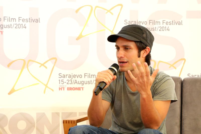 Mexican actor and director Gael Garcia Bernal speaks to media at the 20th Sarajevo Film Festival at the Festival Square, in Sarajevo, Bosnia-Herzegovina, on Aug ...