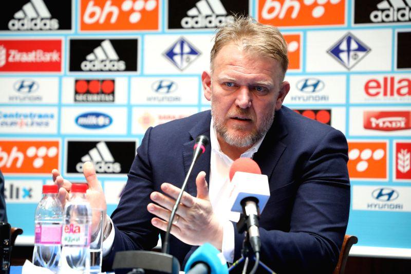 SARAJEVO, March 13, 2018 - Head coach of the national football team of Bosnia and Herzegovina (BiH) Robert Prosinecki attends a press conference in Sarajevo, BiH, on March 13, 2018. Prosinecki ...
