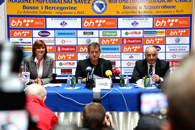 Coach of the national soccer team of Bosnia and Herzegovina Safet Susic (R) announces 24-player squad for the World Cup 2014 in Brazil, in Sarajevo, ...