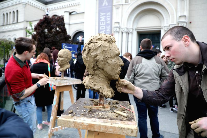 "SARAJEVO, May 8, 2017 - Students take part in a workshop as part of exhibition ""Tolerance"" in front of the Fine Art Academy in Sarajevo, Bosnia and Herzegovina (BiH), on May 8, 2017. The ..."