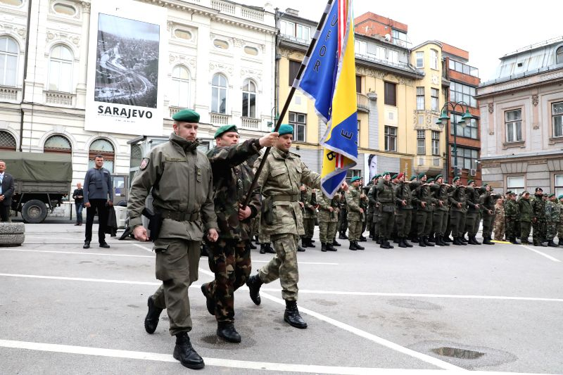 SARAJEVO, May 9, 2017 - Soldiers of European Union Forces (EUFOR) attend a ceremony in front of the Dome of Army in Sarajevo, Bosnia and Herzegovina (BiH), on May 9, 2017. EUFOR and the Delegation of ...