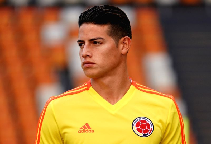 SARANSK, June 18, 2018 - Colombia's James Rodriguez is seen during a training session prior to a group H match against Japan at the 2018 FIFA World Cup in Saransk, Russia, on June 18, 2018.