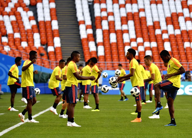 SARANSK, June 18, 2018 - Colombia's players attend a training session prior to a group H match against Japan at the 2018 FIFA World Cup in Saransk, Russia, on June 18, 2018.