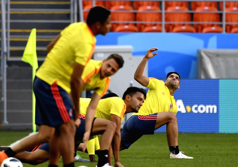 SARANSK, June 18, 2018 - Colombia's Radamel Falcao (1st R) attends a training session prior to a group H match against Japan at the 2018 FIFA World Cup in Saransk, Russia, on June 18, 2018.