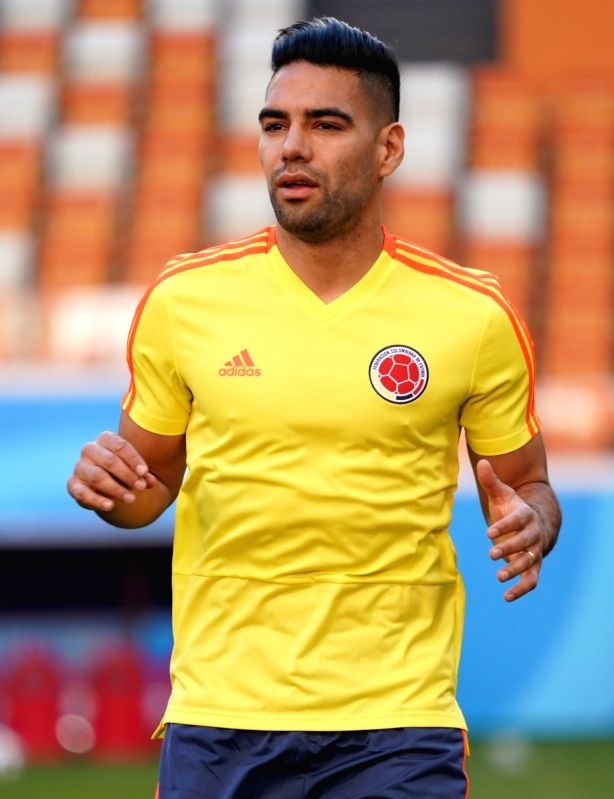 SARANSK, June 18, 2018 - Colombia's Radamel Falcao is seen during a training session prior to a group H match against Japan at the 2018 FIFA World Cup in Saransk, Russia, on June 18, 2018.
