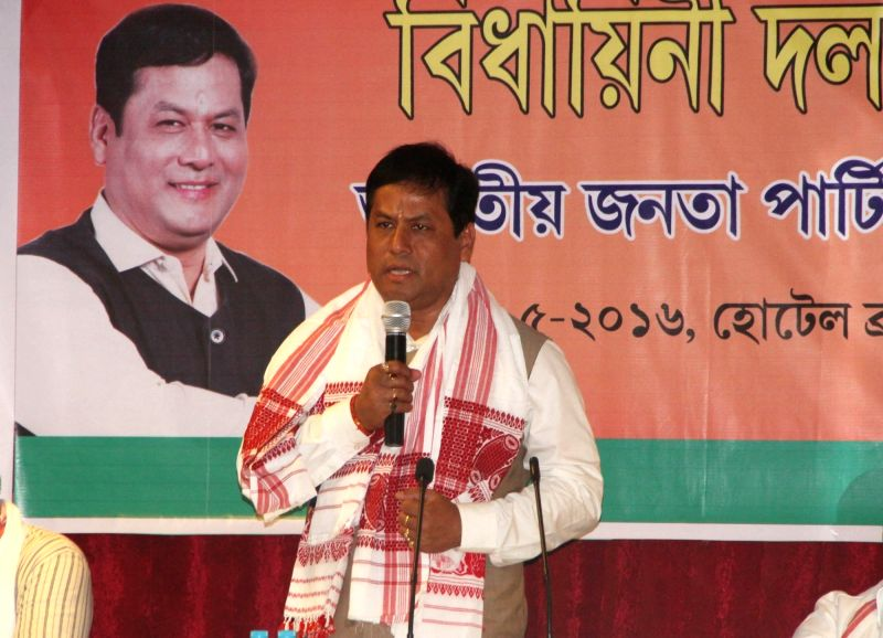 Sarbanand Sonowal, who has been elected leader of the Assam BJP legislature party addresses during the meeting in Guwahati, on May 22, 2016.