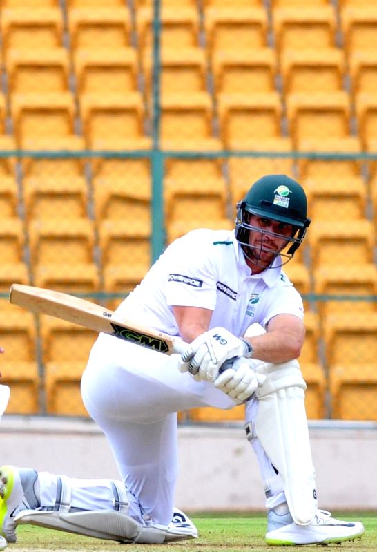 Sarel Erwee of South Africa A in action on 1st day of the four day test match between India A and South Africa A at M Chinnaswamy Stadium, in Bengaluru on Aug 4, 2018.