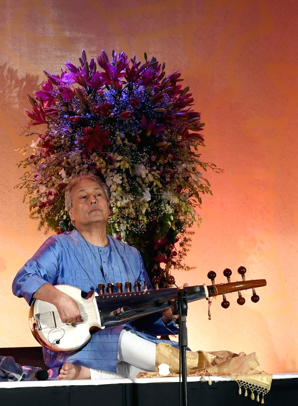Sarod maestro Ustad Amjad Ali Khan during a private concert in Bangalore on Aug 23, 2014.