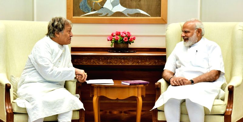 Sarod Player Ustad Amjad Ali Khan calls on Prime Minister Narendra Modi in New Delhi on June 13, 2017. - Narendra Modi