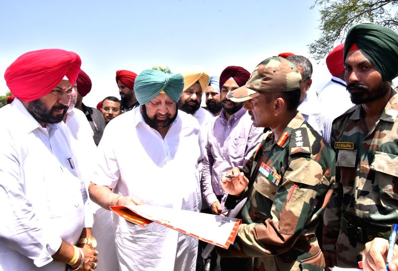 Sarupwal: Punjab Chief Minister Captain Amarinder Singh during his visit to Sarupwal in Sultanpur Lodhi sub-Tehsil, where the overflowing river Sutlej led to a breach in Dhusi bund, affecting 62 villages, on Aug 22, 2019.